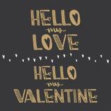 Bonjour mon amour Bonjour mon Valentine Citations de motivation Inspiration mignonne douce, typographie Eleme de conception graph Photo stock