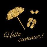 Bonjour parapluie de plage graphique de typographie d'été Photographie stock libre de droits
