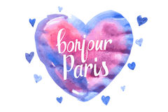 Bonjour Paris card with watercolor hearts Stock Photo