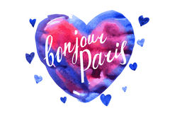 Bonjour Paris card with watercolor hearts Stock Images