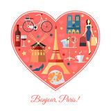 Bonjour, Paris. France travel background with. Place for text. heart shape with France flat icons. France symbols for your design. Vector illustration vector illustration