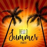 Bonjour partie de plage d'été Bonjour vacances et voyage de lettrage d'été Affiche tropicale avec le coucher du soleil ou le leve Photo libre de droits