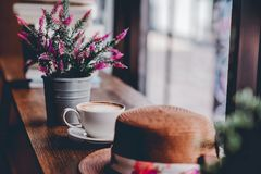 Bonjour pendant le matin avec du café aromatique d'amour du café I j'aime t Photos stock