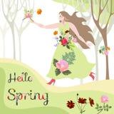 Bonjour ressort Fleurissez la fée est arrivé à la belle femme dans la robe florale illustration stock