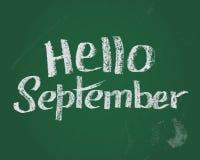 Bonjour septembre, carte des textes de craie pendant la nouvelle année stading illustration stock