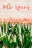 Bonjour signe des textes de ressort, belles tulipes roses sur l'OE rustique blanc Photo stock