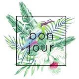 Bonjour-Slogan Vogel, Orchidee und Palmblattdruck Stockbild