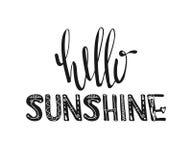 Bonjour soleil Typographie tirée par la main d'affiche Citations inspirées Vecteur Photo libre de droits