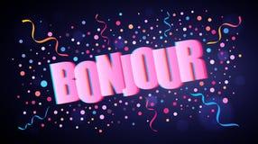 Bonjour som överlappar festlig bokstäver med färgrika runda konfettier vektor illustrationer