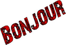 Bonjour text sign illustration Royalty Free Stock Image