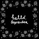 Bonjour, texte de lettrage de main de septembre Collection faite main de calligraphie de vecteur Photo stock