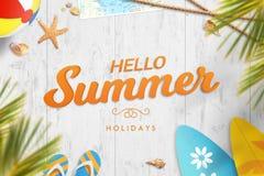 Bonjour vacances d'été Image de motivation de vacances avec le texte illustration libre de droits