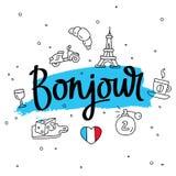 bonjour Wort hallo auf französisch Moderne Kalligraphie Lizenzfreie Stockfotos