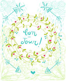 Bonjour wreath illustration Royalty Free Stock Photos