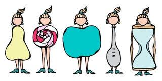 Bonkreta, lizak, Apple, łyżka, Hourglass kobiet ciała typ postać kształta nakreślenie Ręka rysująca wektorowa ilustracja karykatu ilustracji