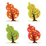 Bonkrety drzewa set ilustracji