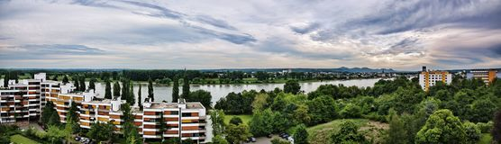 Bonn Aerial Panorama over the River Rhein royalty free stock image