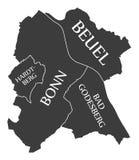 Bonn city map Germany DE labelled black illustration. Bonn city map Germany DE labelled black Stock Photography