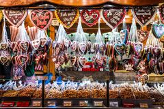 Bonn Germany 17.12.2017 Christmas market in the old town of Koblenz Selling traditional sweets and gingerbread royalty free stock images