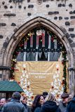 BONN, GERMANY 17.12.2017 decorated Sign at the entrance of the christmas market in Bonn, Germany stock images