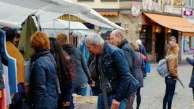 Bonn, Germany, 23 of October 2017: People Choosing Stuff on Flea Market In The Center Of Bonn.