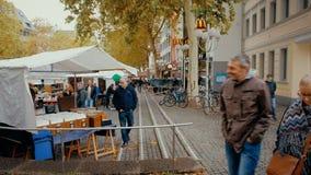 Bonn, Germany, 23 of October 2017: Vinyl Discs on Flea Market In The Center Of Bonn.