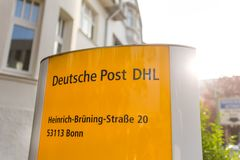Bonn, North Rhine-Westphalia/germany - 19 10 18: deutsche post dhl sign in in bonn germany. Bonn, North Rhine-Westphalia/germany - 19 10 18: a deutsche post dhl stock images