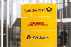Bonn, North Rhine-Westphalia/germany - 19 10 18: deutsche post sign in bonn germany. Bonn, North Rhine-Westphalia/germany - 19 10 18: a deutsche post sign in stock image
