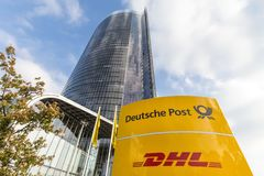 Bonn, North Rhine-Westphalia/germany - 19 10 18: deutsche post sign in front of the main post tower in bonn germany. Bonn, North Rhine-Westphalia/germany - 19 10 royalty free stock image
