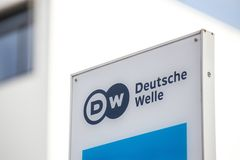 Bonn, North Rhine-Westphalia/germany - 19 10 18: deutsche welle sign in bonn germany. Bonn, North Rhine-Westphalia/germany - 19 10 18: a deutsche welle sign in stock photo
