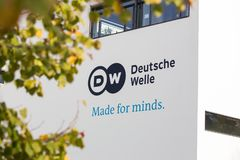 Bonn, North Rhine-Westphalia/germany - 19 10 18: deutsche welle sign in bonn germany. Bonn, North Rhine-Westphalia/germany - 19 10 18: a deutsche welle sign in stock images
