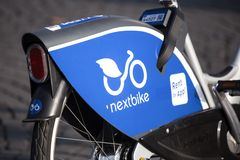 Bonn, North Rhine-Westphalia/germany - 19 10 18: nextbike rent bicycle sign in bonn germany. Bonn, North Rhine-Westphalia/germany - 19 10 18: an nextbike rent stock photos