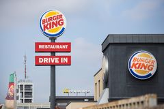 Bonn, North Rhine-Westphalia/germany - 17 10 18: some burger king signs on an building in bonn germany. Bonn, North Rhine-Westphalia/germany - 17 10 18: some royalty free stock images