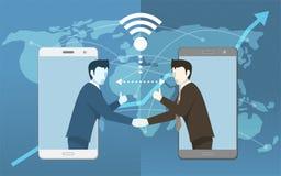 Bonne affaire dans la communication en ligne d'affaires pour des les deux concept de World Wide Business d'homme d'affaires Images stock