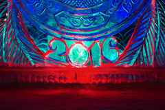 Bonne année 2016 écrite avec des lettres de glace Image libre de droits