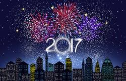 Bonne année 2017 écrite avec le feu d'artifice et la lumière de ville illustration stock