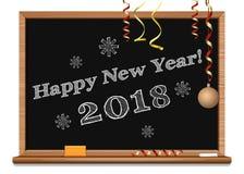 Bonne année 2018 écrite sur le tableau noir Images stock