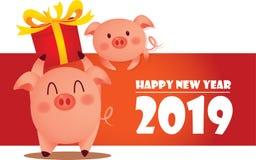 Bonne année 2019, accueil l'année d'or de porc images libres de droits