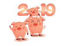 Bonne année 2019, accueil l'année d'or de porc photographie stock