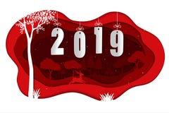 Bonne année 2019 avec des cerfs communs dans la saison d'hiver sur l'art de papier rouge illustration libre de droits