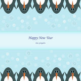 Bonne année avec des pingouins d'hiver Images libres de droits