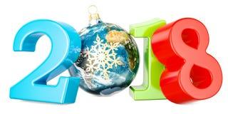 Bonne année 2018 avec la boule de Noël formé comme globe de la terre Photographie stock libre de droits