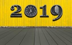Bonne année 2019 avec la nouvelle synchronisation dans la vie photographie stock libre de droits