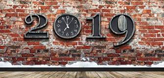 Bonne année 2019 avec la nouvelle synchronisation dans la vie photographie stock