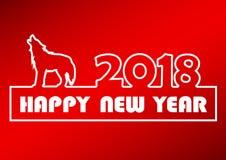 Bonne année 2018 avec le chien rouge conceptuel de milieux de caractères illustration libre de droits