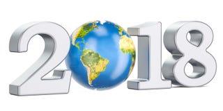 Bonne année 2018 avec le concept de globe de la terre, rendu 3D Images stock