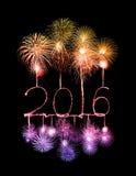 Bonne année 2016 avec le feu d'artifice d'étincelle Images stock