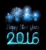 Bonne année 2016 avec le feu d'artifice d'étincelle Image stock