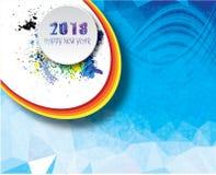 Bonne année 2018 avec le fond bleu Photographie stock