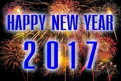 Bonne année 2017 avec le fond coloré de feu d'artifice photographie stock